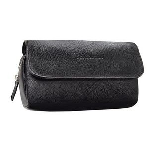 Black Cosmetic case top grain genuine leather